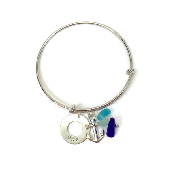 OBX Charm Bracelet with Seaglass