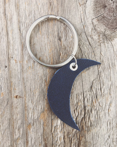blue leather + silver crescent moon keychain