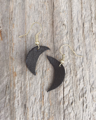 black leather crescent moon earrings