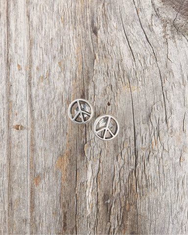 stud earrings sign peace