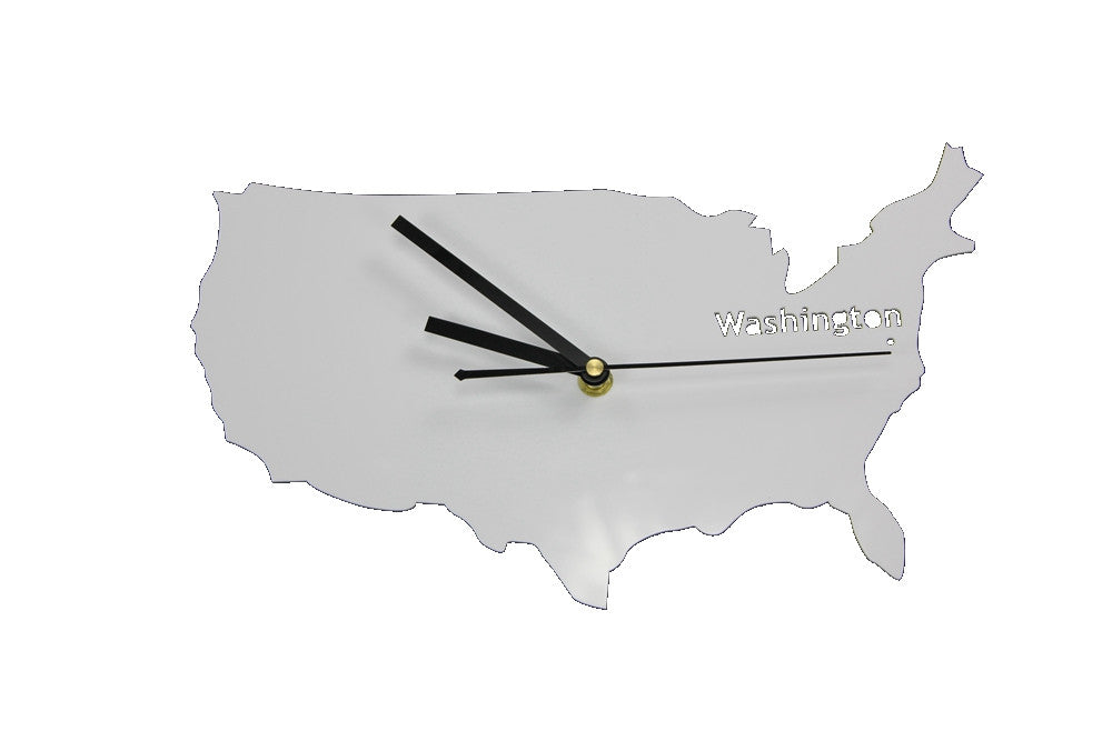 United States Of America Silhouette Map Wall Clock INFMETRY - Us map white silhouette