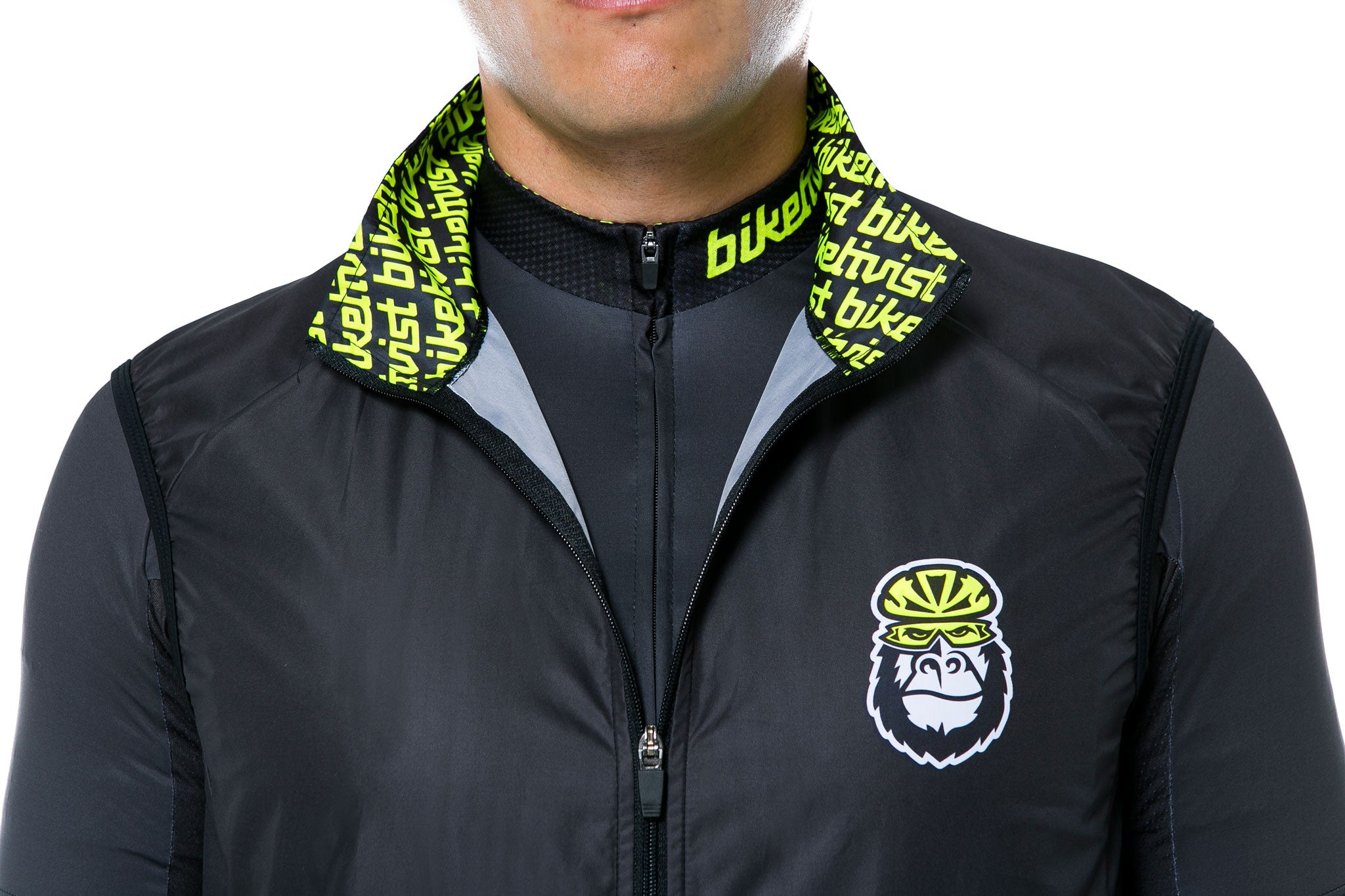 The Biketivist Lightweight Gilet (Vest) - Neck view