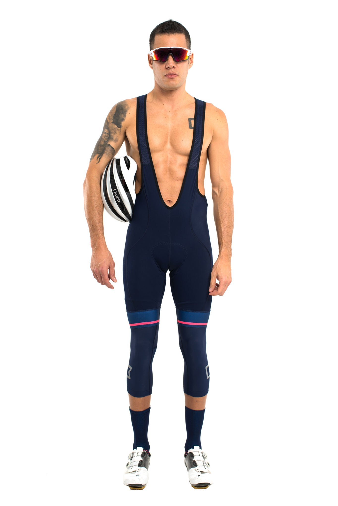 The Pro Bib Short 2.0 (Navy Blue w/Pink Stripe)