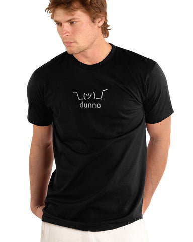 Black Dunno Men's Tshirt w/ Shruggie worn by Sexy Model Guy