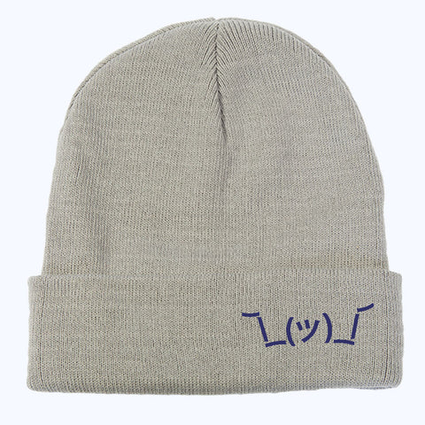 The Warm Winter Shrug Beanie. Grey Cap with Blue Embroidered Shruggie.