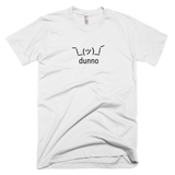 White Dunno Men's T-shirt with Shruggie
