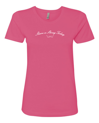 Share a Shrug Today - Women's Boyfriend Tee in Pink - Product Shot