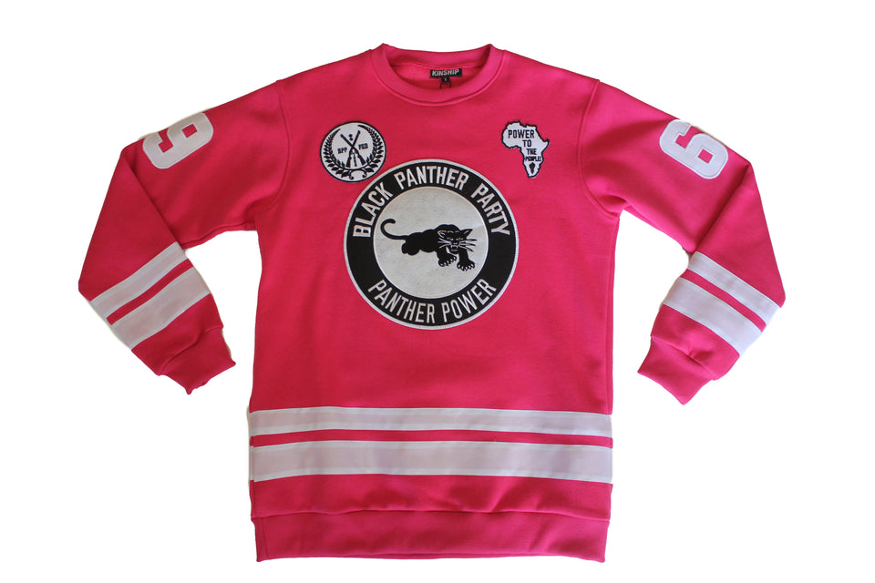 Black Panther Hockey Sweatshirt in Pink Contrast (Women's Sizing)