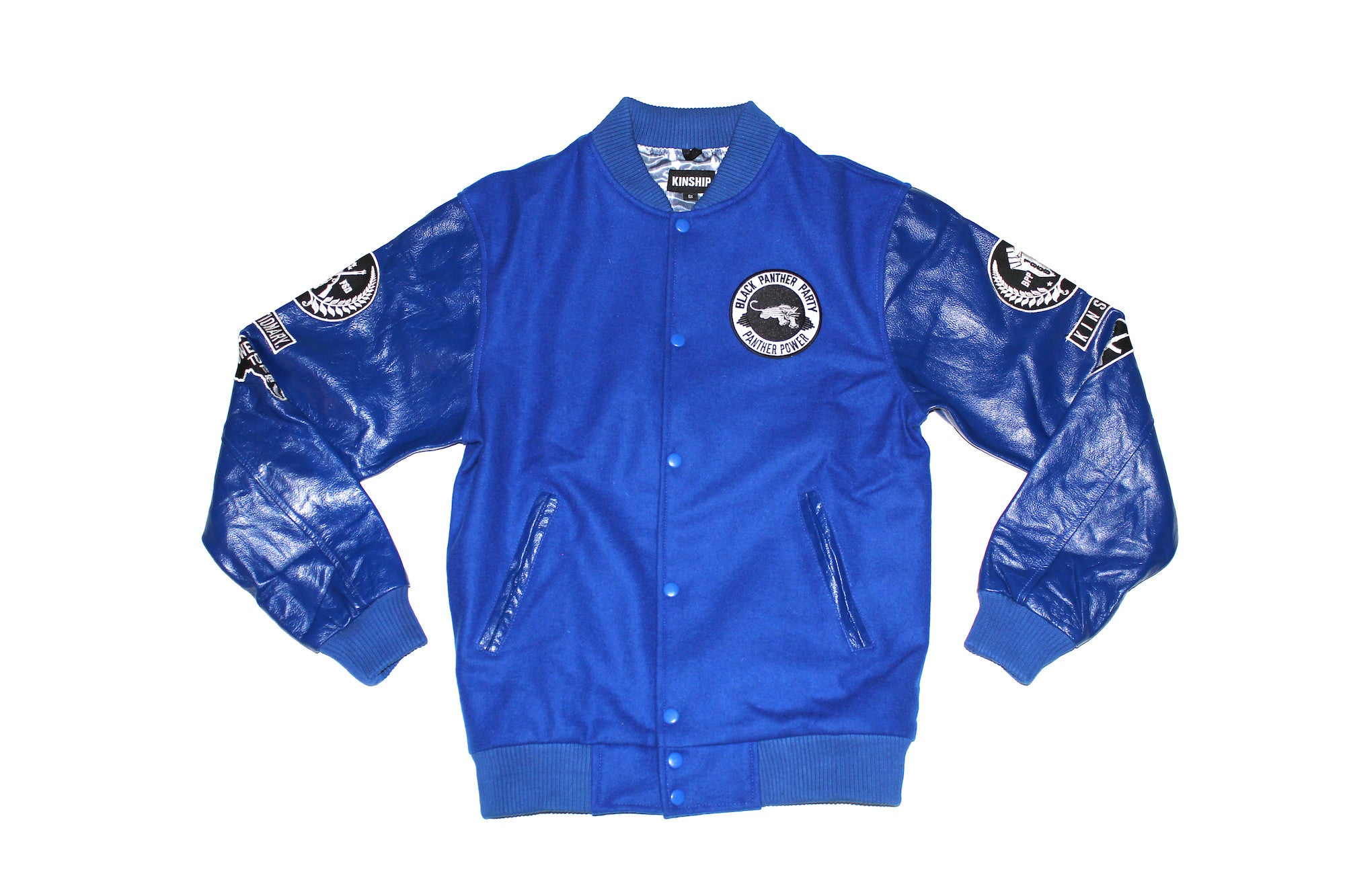 Black Panther Varsity Jacket in Blue Contrast