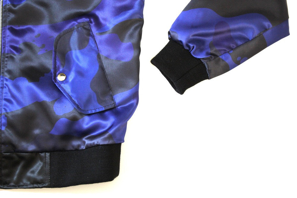 Splatter Camo Bomber in Blue