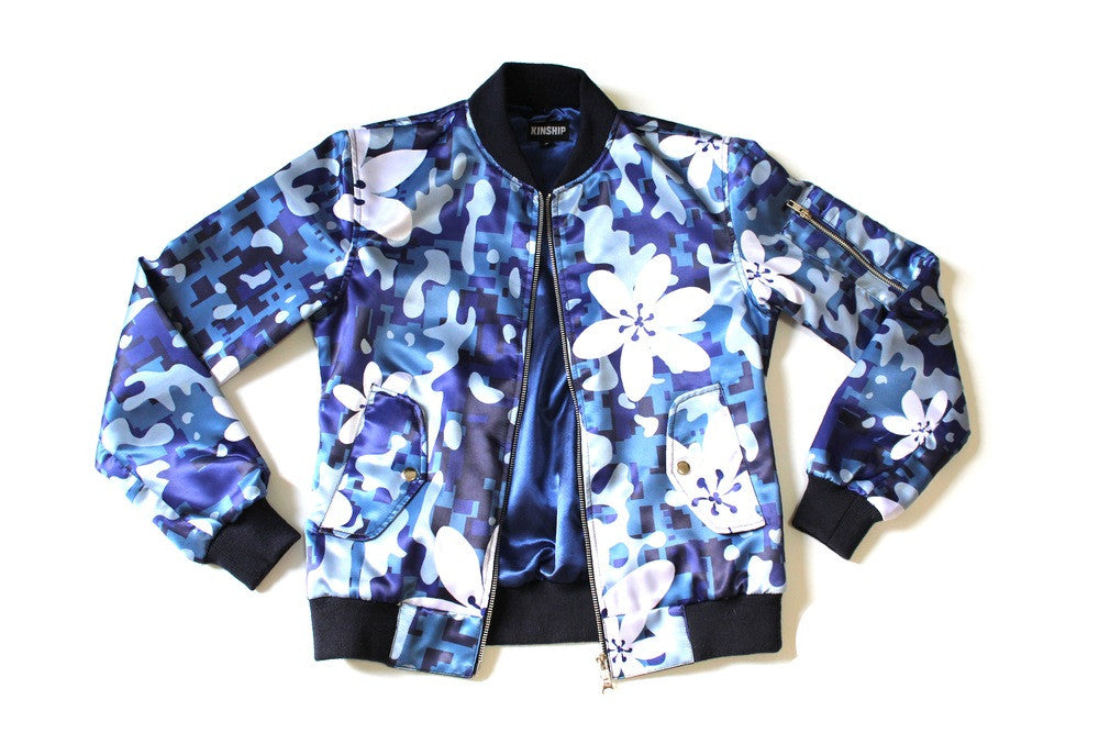 Women's Island Camo Bomber in Blue