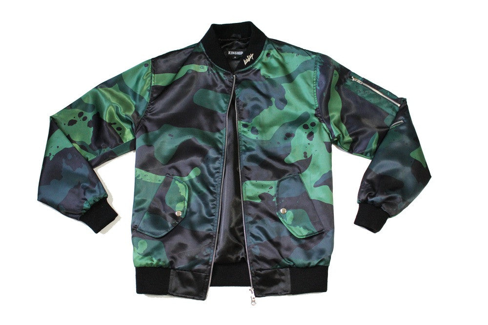 Splatter Camo Bomber in Green