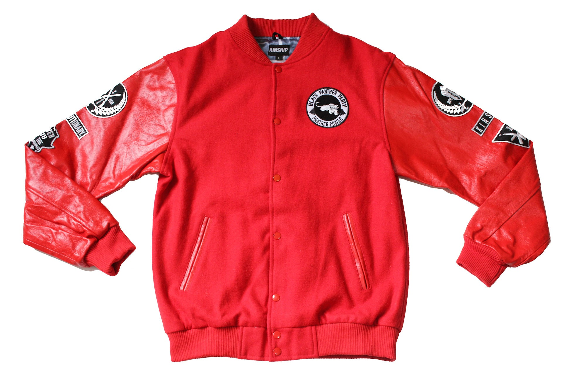 Black Panther Varsity Jacket in Red Contrast