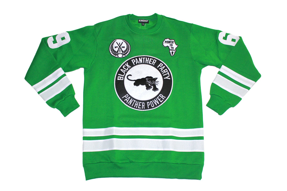 Black Panther Hockey Sweatshirt in Green Contrast