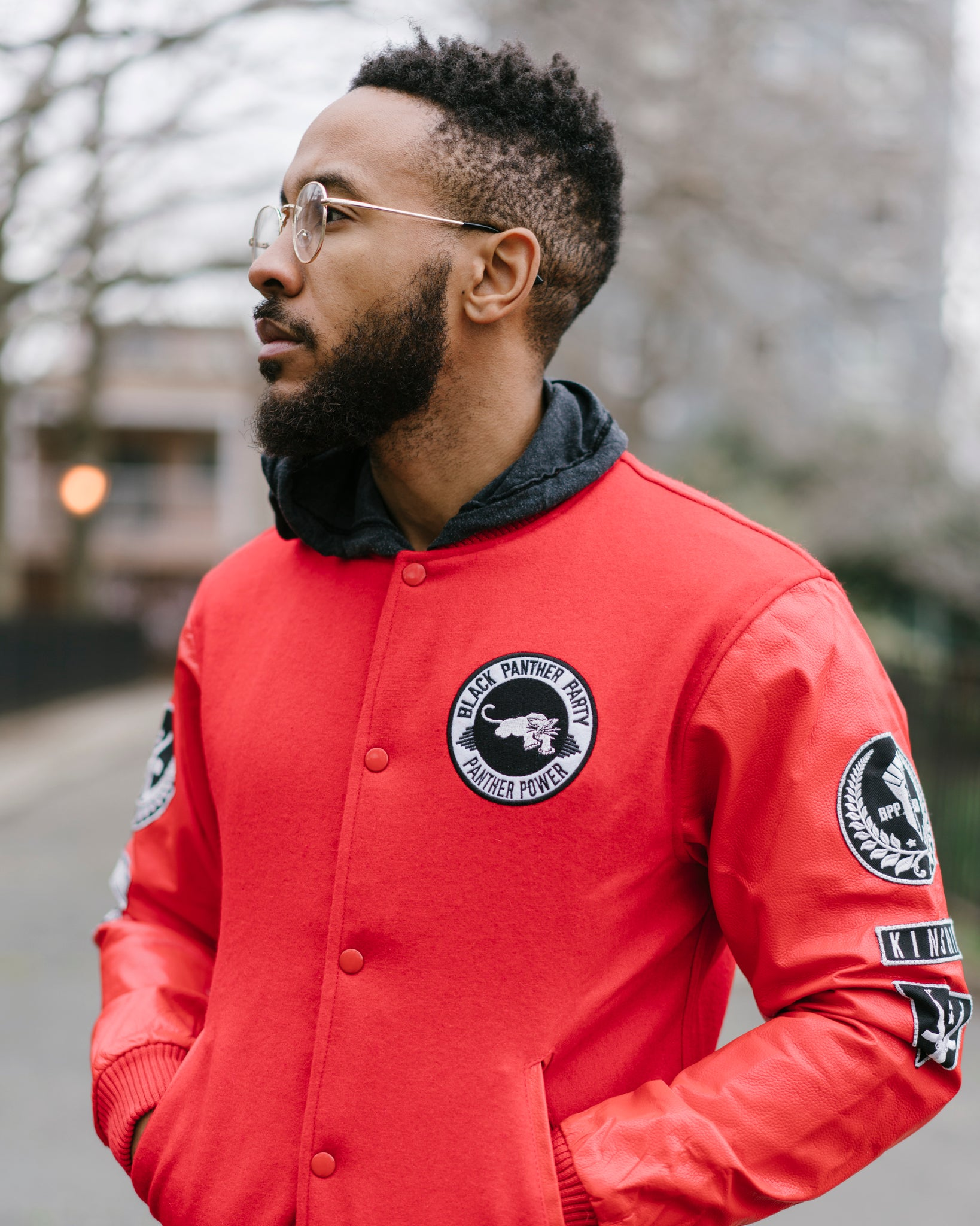 Black Panther Varsity Bomber in Red Contrast