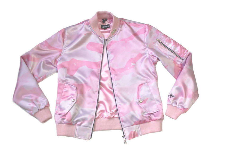 Women's Splatter Camo Bomber in Pink