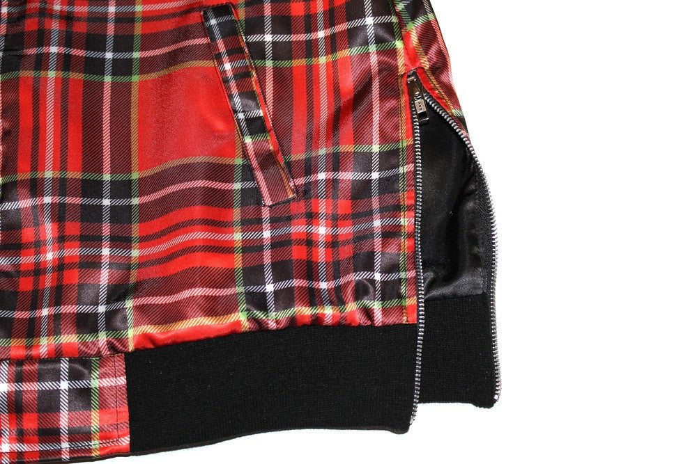 Collarless Bomber Jacket in Plaid