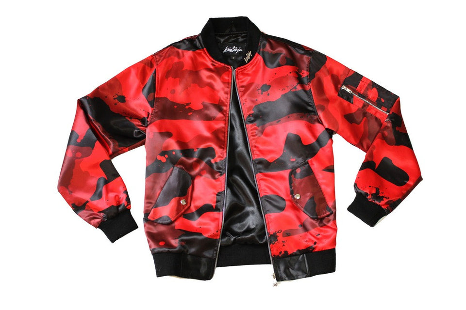 Splatter Camo Bomber in Red