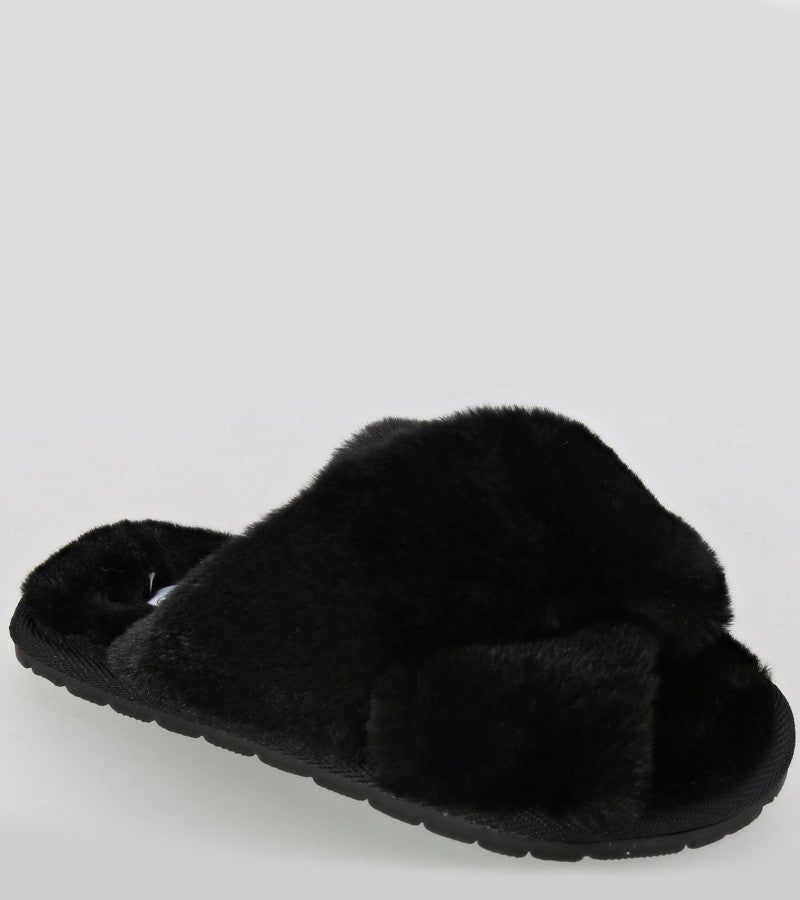 Kids Fuzzy Slippers in Black