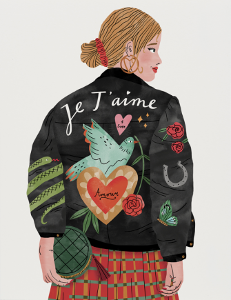 Red Cap Greeting Cards - Je T'aime Jacket