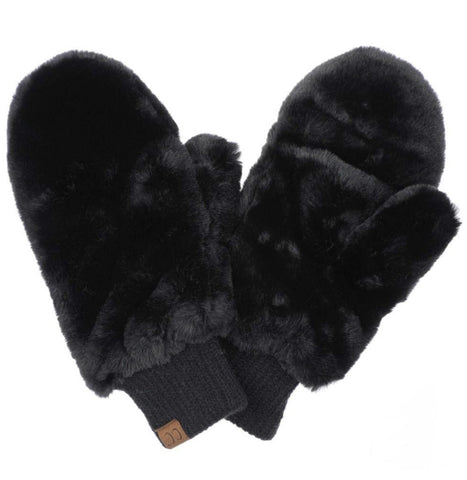 Faux Fur Pop Top Mitts in Black