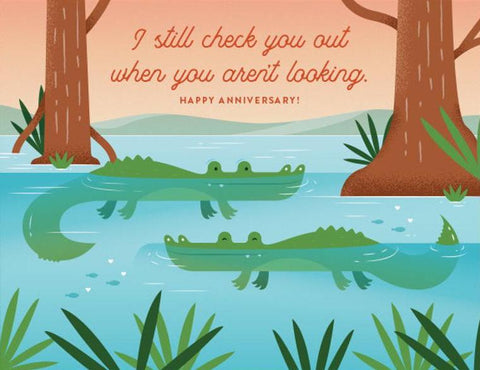 Checking You Out Alligators Greeting Card
