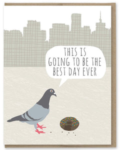 Pigeon's Best Day - Modern Printed Matter Greeting Card - Ottawa, Canada