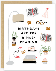 Birthday Binge-Reading Greeting Card
