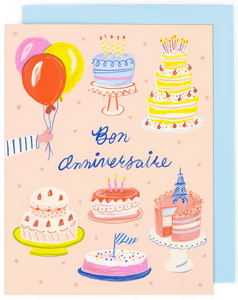 French Birthday Cakes Greeting Card