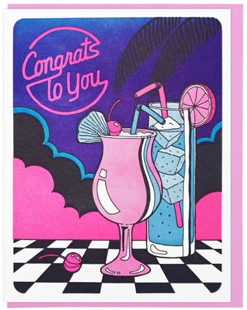 Congrats Cocktails - Lucky Horse Press Greeting Card - Ottawa, Canada