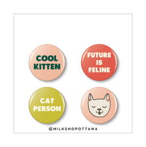Cool Cat Pinback Button Set