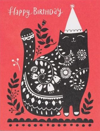 Black Cat Birthday Greeting Card