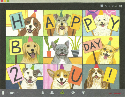 Dog Zoom Birthday Greeting Card