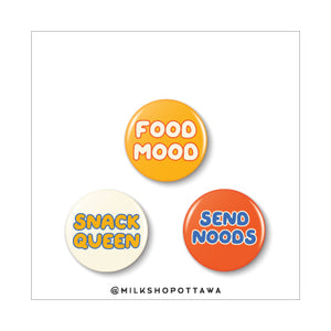 Food Mood Pinback Button Set