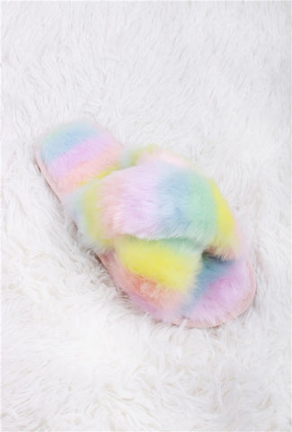 Tie Dye Fuzzy Slippers in Yellow