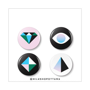 Geo Pinback Button Set