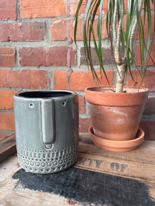 Crackled Glaze Face Planter - Large