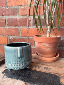 Crackled Glaze Face Planter - Small