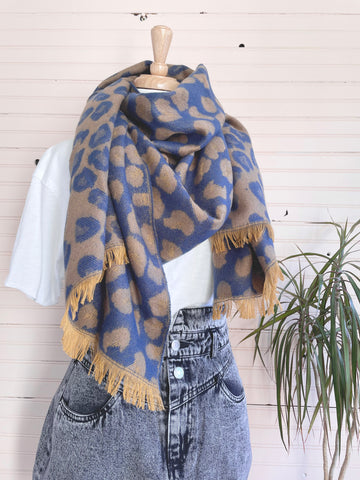 Leopard Reversible Scarf in Navy