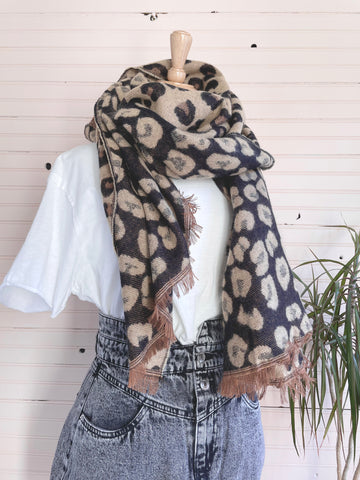 Leopard Reversible Scarf in Camel