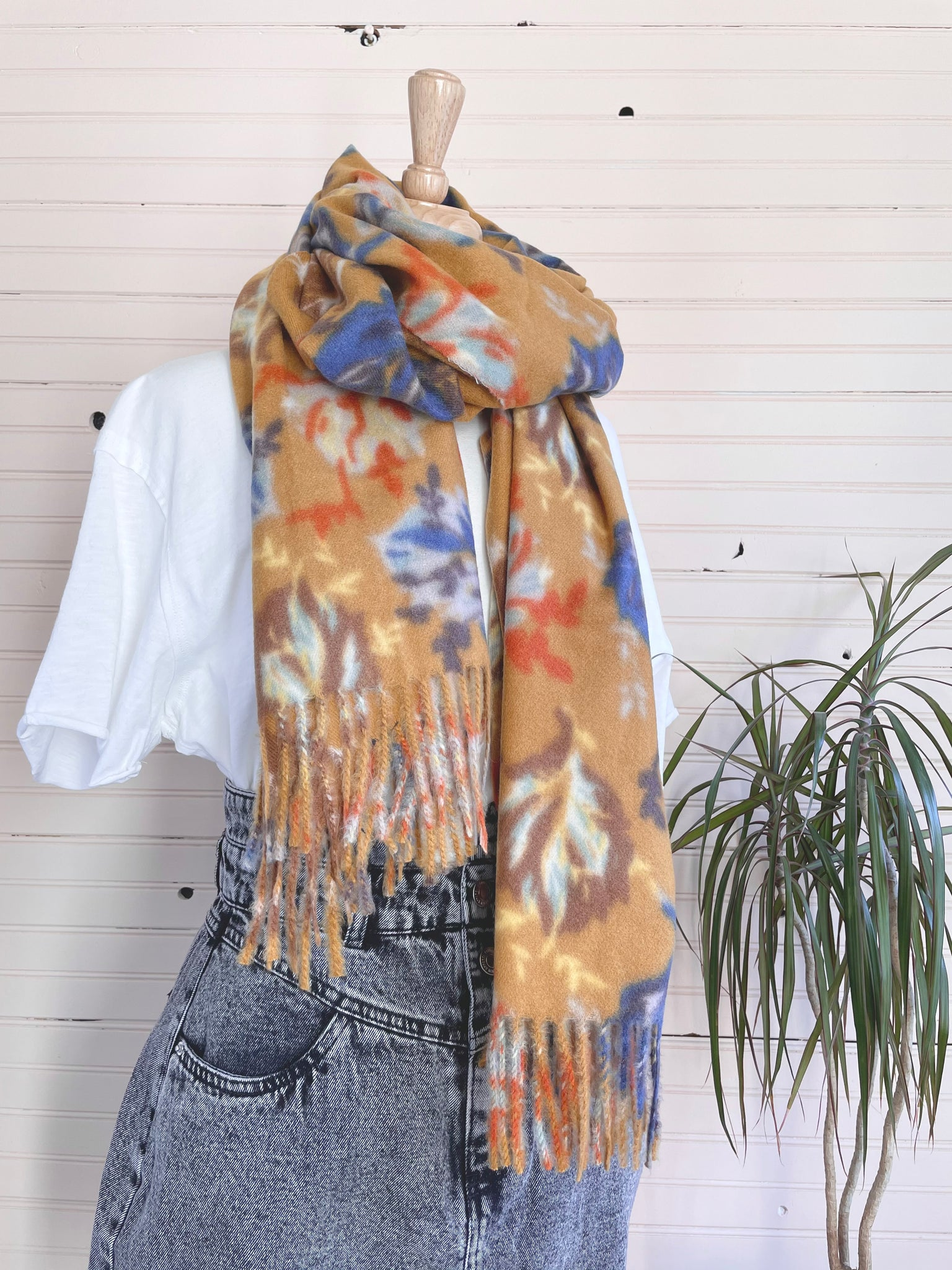 Ultra Soft Leaf Print Scarf in Mustard