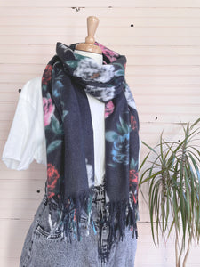 Ultra Soft Floral Scarf in Black