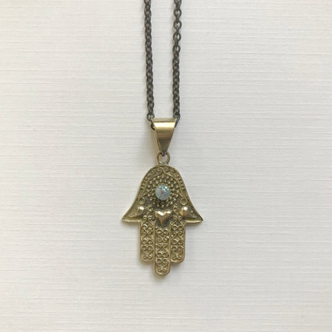 Hamsa w/ Mini Opal Necklace
