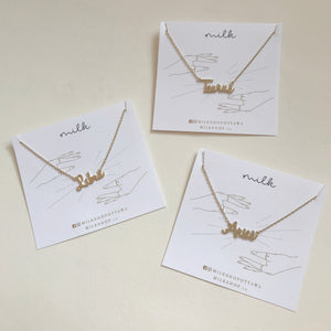 Handwritten Zodiac Necklace Gold