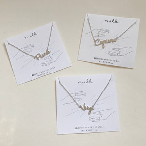 Handwritten Zodiac Necklace Silver