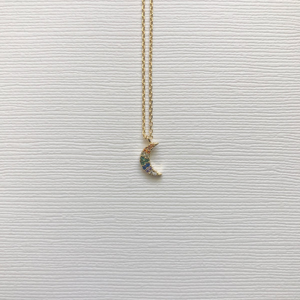 Rainbow Jewel Moon Necklace
