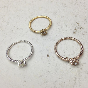 Rope Crystal Midi Ring