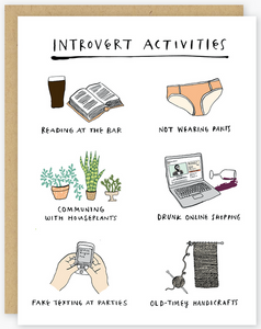 Introvert Activities Greeting Card