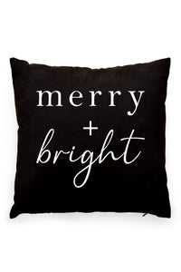 Merry and Bright Pillow Cover Black