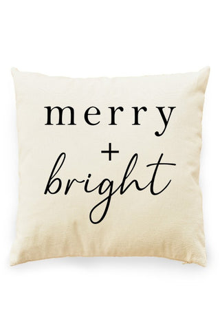 Merry and Bright Pillow Cover Natural